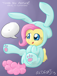 Size: 1024x1353 | Tagged: safe, artist:redfoxjake, fluttershy, bunny costume, bunny pajamas, bunnyshy, clothes, cute, female, filly, footed sleeper, pajamas, paw gloves, paw prints, shyabetes, solo, yay, younger