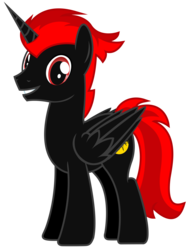 Size: 5500x7311 | Tagged: safe, artist:matthewboyz, oc, oc only, alicorn, pony, absurd resolution, alicorn oc, edgy, happy, male, red and black oc, request, simple background, smiling, solo, stallion, transparent background, vector