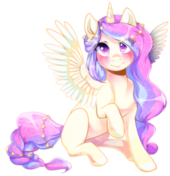 Size: 1024x1059 | Tagged: safe, artist:toskurra, oc, oc only, alicorn, pony, alicorn oc, colored pupils, solo, starry eyes, wingding eyes