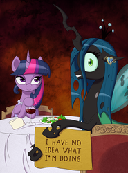 Size: 800x1081 | Tagged: alcohol, alicorn, artist:deusexequus, bedroom eyes, c:, changeling, date, dinner, food, glass, hoof hold, jewelry, lesbian, looking at you, looking back, nervous, pony, queen chrysalis, safe, shipping, sign, smiling, table, twilight sparkle, twilight sparkle (alicorn), twisalis, unsure, wide eyes, wine, wine glass