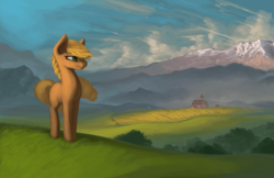 Size: 1920x1242 | Tagged: safe, artist:rain-gear, applejack, earth pony, pony, farm, female, mare, missing accessory, missing cutie mark, mountain, scenery, solo