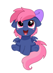 Size: 2550x3509 | Tagged: 2018 community collab, artist:pridark, blushing, blush sticker, bow, cute, derpibooru community collaboration, earth pony, female, filly, floppy ears, hair bow, looking up, oc, ocbetes, oc only, oc:ribbon moon, open mouth, pegasus, pony, safe, simple background, sitting, smiling, solo, transparent background