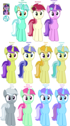 Size: 2500x4450 | Tagged: safe, artist:arifproject, amethyst star, banana fluff, diamond mint, electric sky, lemony gem, lyra heartstrings, minty bubblegum, orchid dew, roseluck, silverspeed, sparkler, topaz star, twilight sparkle, alicorn, earth pony, pegasus, pony, unicorn, awwmethyst star, background pony, compilation, cute, cuteluck, cutie mark, diamond, female, flower, flower in hair, gem, hairclip, harp, lyrabetes, mare, musical instrument, recolor, rose, simple background, smiling, smirk, smirk pone collection, standing, text, transparent background, twilight sparkle (alicorn), vector