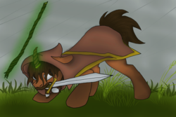 Size: 2000x1333   Tagged: safe, artist:freeformedto, oc, oc only, pony, unicorn, aura, beard, cloak, clothes, facial hair, long mane, magic, mouth hold, short tail, solo, staff, stare, sword, tail, weapon