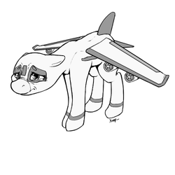 Size: 500x500 | Tagged: safe, artist:keeponhatin, oc, oc only, oc:air liner, original species, plane pony, pony, floppy ears, frown, monochrome, nose wrinkle, plane, sad, solo