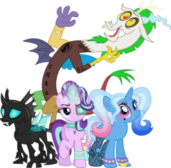 Size: 5206x5106 | Tagged: safe, artist:osipush, discord, starlight glimmer, thorax, trixie, draconequus, pony, unicorn, to where and back again, absurd resolution, alternate hairstyle, bracelet, clothes, collar, crossover, dc comics, deadshot, el diablo, female, grin, harley quinn, harley trix, jewelry, jokercord, looking at you, male, mare, open mouth, parody, reformed four, simple background, smiling, smug, spiked wristband, stockings, suicide squad, tattoo, the joker, transparent background