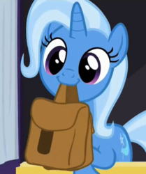 Size: 583x697 | Tagged: safe, screencap, trixie, pony, unicorn, to where and back again, cropped, cute, diatrixes, female, leaning, mare, mouth hold, nom, saddle bag, smiling, solo, to saddlebags and back again
