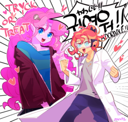 Size: 1222x1164 | Tagged: safe, artist:dusty-munji, pinkie pie, sunset shimmer, equestria girls, breasts, clothes, cute, delicious flat chest, diapinkes, doctor frankenstein, female, frankenstein, frankenstein's monster, happy, humanized, japanese, korean, lab coat, lesbian, open mouth, pony coloring, shipping, smiling, sunflat shimmer, sunsetpie