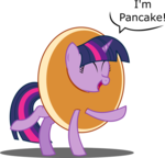 Size: 1500x1440 | Tagged: safe, artist:bladedragoon7575, twilight sparkle, pony, clothes, costume, cute, dialogue, eyes closed, food, happy, i'm pancake, open mouth, pancakes, raised hoof, raised leg, silly, silly pony, simple background, smiling, solo, speech bubble, transparent background, twiabetes