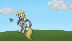 Size: 1600x900 | Tagged: safe, artist:bill-the-pony, derpy hooves, hummingbird, pegasus, pony, female, mare, solo