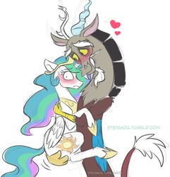 Size: 830x861 | Tagged: safe, artist:stepandy, discord, princess celestia, to where and back again, blushing, dislestia, heart, hug, looking at you, male, shipping, simple background, smiling, straight, white background, wide eyes