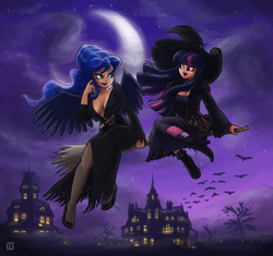 Size: 1600x1505 | Tagged: alternate hairstyle, artist:king-kakapo, bat, boots, breasts, broom, busty princess luna, cleavage, clothes, cosplay, costume, dress, elvira, female, flying, flying broomstick, halloween, hat, high heels, house, human, humanized, lesbian, light skin, lipstick, moon, night, nightmare night, pantyhose, princess luna, safe, shipping, sitting, tree, twilight sparkle, twiluna, witch, witch hat