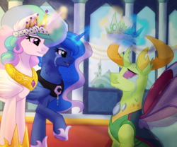 Size: 1200x1000 | Tagged: safe, artist:itstaylor-made, princess celestia, princess luna, thorax, changedling, changeling, to where and back again, chest fluff, coronation, crown, crying, jewelry, king thorax, magic, necklace, raised hoof, regalia, tears of joy, telekinesis