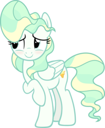 Size: 4925x6000   Tagged: safe, artist:slb94, vapor trail, pegasus, pony, top bolt, absurd resolution, blushing, cute, female, mare, raised hoof, simple background, solo, transparent background, vaporbetes, vector