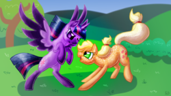Size: 800x450   Tagged: safe, artist:sallindaemon, applejack, twilight sparkle, alicorn, pony, alternate design, colored wings, colored wingtips, cute, dappled, eye contact, freckles, glare, looking at each other, open mouth, rearing, smirk, spread wings, twilight sparkle (alicorn)