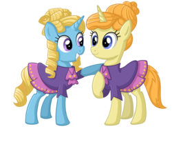 Size: 2448x2016 | Tagged: safe, artist:thecheeseburger, four step, primrose, pony, unicorn, background pony, clothes, dress, duo, female, hooves, horn, looking at each other, mare, raised hoof, simple background, smiling, teeth, transparent background