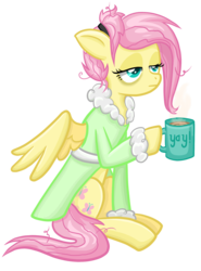 Size: 1656x2232 | Tagged: safe, artist:thecheeseburger, fluttershy, pegasus, pony, bathrobe, bed mane, clothes, coffee, coffee mug, cup, hairclip, hoof hold, lidded eyes, morning ponies, mug, robe, simple background, sitting, solo, tired, transparent background, yay