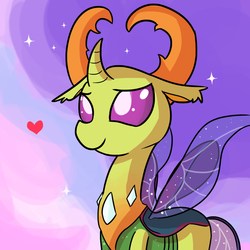 Size: 1280x1280 | Tagged: safe, artist:tjpones, thorax, changedling, changeling, to where and back again, cute, heart, king thorax, lidded eyes, male, smiling, solo, sparkles, thorabetes, tjpones is trying to murder us