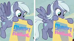 Size: 826x458 | Tagged: safe, screencap, dusk drift, pegasus, pony, to where and back again, animation error, background pony, banner, cropped, cutie mark, discovery family logo, female, mare, mouth hold, tiny pop, written equestrian