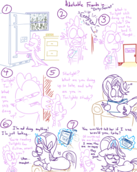 Size: 1280x1611   Tagged: safe, artist:adorkabletwilightandfriends, spike, starlight glimmer, pony, unicorn, comic:adorkable twilight and friends, adorkable friends, back, comic, dimples, dimples of venus, fanfic, lineart, night, plot, secret, sitting, slice of life, sneezing