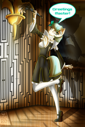 Size: 2400x3600 | Tagged: anthro, artist:elmutanto, clothes, coco pommel, corset, cute, dress, duster, dusting, greeting, maid, mary janes, master, oc, oc:cocobot, oc only, pantyhose, plantigrade anthro, robot, safe, shoes, skirt, solo, speech, stockings