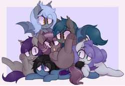 Size: 1278x875 | Tagged: safe, artist:toroitimu, oc, oc only, oc:chiro, oc:ipomoea, oc:iris, oc:nolegs, oc:panne, oc:speck, bat pony, pony, cuddle puddle, cuddling, cute, cute little fangs, fangs, female, group, looking at you, looking back, looking down, on back, open mouth, pile, pony pile, prone, smiling, spread wings, underhoof