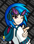 Size: 5100x6600 | Tagged: absurd res, artist:penspark, clothes, dj pon-3, headphones, human, humanized, safe, solo, sunglasses, vinyl scratch, wink