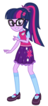 Size: 841x1866 | Tagged: adorkable, alternate costumes, artist:sketchmcreations, bowtie, clothes, commission, cute, equestria girls, glasses, looking at you, mary janes, ponytail, safe, sci-twi, shoes, simple background, skirt, smiling, socks, solo, spoiler:eqg specials, transparent background, twilight sparkle, twilight's sparkly sleepover surprise, vector