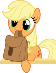 Size: 10508x13642 | Tagged: safe, artist:pink1ejack, edit, vector edit, applejack, to where and back again, absurd resolution, cute, female, hatless, jackabetes, missing accessory, mouth hold, saddle bag, simple background, smiling, solo, to saddlebags and back again, transparent background, vector