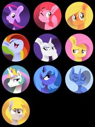 Size: 900x1200 | Tagged: safe, artist:karzahnii, applejack, derpy hooves, fluttershy, pinkie pie, princess celestia, princess luna, rainbow dash, rarity, trixie, twilight sparkle, alicorn, earth pony, pegasus, pony, unicorn, bust, button, custom, eyes closed, female, grin, hooves, horn, irl, jewelry, lineless, mane six, mare, one eye closed, open mouth, photo, pin, portrait, regalia, s1 luna, smiling, teeth, tiara, toy