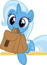 Size: 3000x4167 | Tagged: artist:sollace, behaving like a dog, cute, diatrixes, pony, saddle bag, safe, simple background, solo, .svg available, to saddlebags and back again, to where and back again, transparent background, trixie, vector