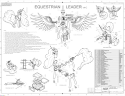 Size: 6210x4799 | Tagged: safe, artist:billneigh, princess celestia, princess luna, absurd resolution, assembly, autocad, bicornuate uterus, black and white, blueprint, brain, cad, drafting, engineering, exploded view, grayscale, laser, monochrome, organs, simple background, vector, white background