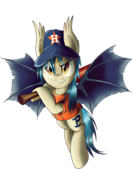 Size: 1536x2009 | Tagged: safe, artist:ruhisu, oc, oc only, oc:moonshot, bat pony, pony, baseball, baseball bat, baseball cap, clothes, full body, hat, houston astros, looking at you, mlb, pun, solo, uniform