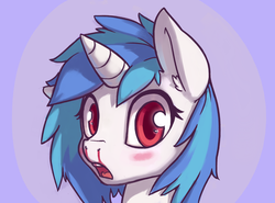 Size: 2700x2000   Tagged: safe, artist:ligerstorm, dj pon-3, vinyl scratch, pony, unicorn, blood, blushing, bust, female, looking at you, mare, missing accessory, nosebleed, open mouth, simple background, solo, wrong eye color