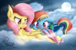 Size: 4000x2660 | Tagged: safe, artist:pucksterv, fluttershy, rainbow dash, bat pony, pony, bat ponified, biting, blushing, butt bite, cloud, cute, dashabetes, female, floppy ears, flutterbat, flutterdash, lesbian, mare, moon, night, nom, open mouth, race swap, rainbowbat, shipping, shyabates, shyabetes