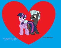 Size: 2596x2060 | Tagged: safe, artist:jwwprod, thunderlane, twilight sparkle, alicorn, pony, heart, male, ms paint, shipping, straight, twilane, twilight sparkle (alicorn)