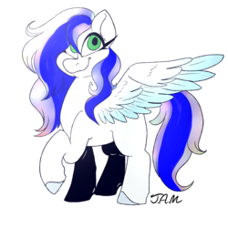 Size: 2500x2500 | Tagged: safe, artist:ihasjessie-kat, oc, oc only, oc:sapphire heart song, pegasus, pony, analyst, blue hair, bronalysis, colored wings, gift art, gradient wings, green eyes, multicolored hair, solo