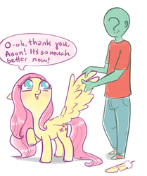 Size: 712x850 | Tagged: safe, artist:mcponyponypony, fluttershy, oc, oc:anon, human, anonymous, blushing, cute, feather, looking up, preening, raised hoof, shyabetes, simple background, speech bubble, spread wings, white background, wing massage