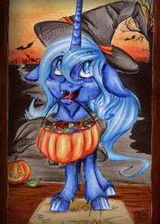 Size: 1024x1441 | Tagged: safe, artist:scootiegp, princess luna, bat, candy, cute little fangs, fangs, female, filly, floppy ears, food, halloween, hat, holiday, jack-o-lantern, looking up, mouth hold, pumpkin, pumpkin bucket, solo, traditional art, trick or treat, unshorn fetlocks, witch hat, woona, younger