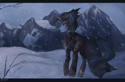Size: 2000x1300 | Tagged: safe, artist:orfartina, oc, oc only, pony, unicorn, clothes, mountain, snow, snowfall, solo