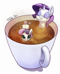 Size: 900x1101 | Tagged: safe, artist:tsitra360, rarity, sweetie belle, pony, unicorn, blowing bubbles, bubble, chocolate, cup of pony, cute, cutie mark, daaaaaaaaaaaw, diasweetes, eyes closed, female, filly, hot chocolate, marshmallow, micro, raritea, rarity is a marshmallow, relaxing, signature, sisters, sweet tea belle, sweetie belle is a marshmallow too, the cmc's cutie marks