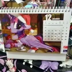 Size: 1920x1920 | Tagged: safe, twilight sparkle, alicorn, pony, bow, calendar, hat, irl, photo, santa hat, solo, twilight sparkle (alicorn)