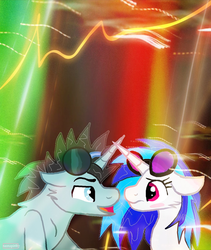 Size: 1024x1214 | Tagged: safe, artist:neonspirit17, dj pon-3, neon lights, rising star, vinyl scratch, bedroom eyes, blushing, embarrassed, eye contact, flirting, leaning, looking at each other, male, nervous, not sure if want, shipping, smiling, straight, unsure, vinylights