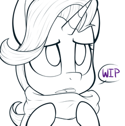 Size: 748x750 | Tagged: safe, artist:higgly-chan, starlight glimmer, clothes, monochrome, scarf, solo, wip