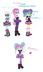 Size: 904x1489 | Tagged: safe, artist:the-75th-hunger-game, photo finish, pixel pizazz, violet blurr, equestria girls, rainbow rocks, fusion, kms, multiple arms, multiple eyes, the snapshots, wrong name
