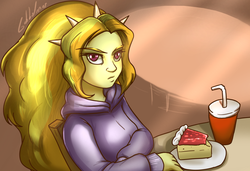 Size: 1200x820 | Tagged: adagio dazzle, artist:gabbslines, beverage, cake, chair, cheesecake, clothes, cup, dessert, equestria girls, hoodie, plate, safe, sitting, solo, straw, table