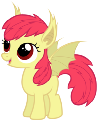 Size: 4831x6000 | Tagged: absurd res, adorabloom, apple bloom, artist:magister39, bat ponified, bat pony, bloombat, cute, fangs, pony, race swap, safe, simple background, solo, transparent background, vector