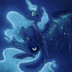 Size: 1200x1200 | Tagged: artist:nicothemintyrabbit, flying, magic, night, princess luna, safe, solo, stars