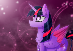 Size: 1024x724 | Tagged: alicorn, artist:simonk0, chest fluff, colored wings, colored wingtips, ear fluff, magic, magic circle, pony, safe, solo, twilight sparkle, twilight sparkle (alicorn)