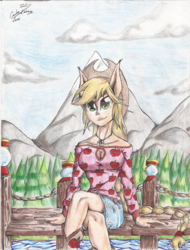Size: 1024x1346 | Tagged: applejack, artist:x-force02ranger, camp fashion show outfit, equestria girls, legend of everfree, mountain, ponied up, safe, sitting, solo, traditional art, water
